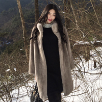 Mink coat women's section of the whole long section of suede jacket velvet imported female otter mink fur grass