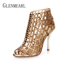 Woman Boots Ankle Summer Shoes High Heels Brand Rhinestone Women Wedding Shoes Platform Open Toes Female Sandals Boots Plus Size
