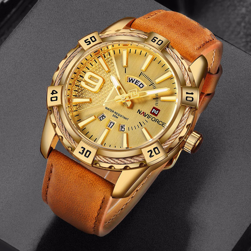 NAVIFORCE Brand Quartz Watch Men Leather Strap Military Sport Watches Waterproof 24 Hout Week Date Wrist Watch Relogio Masculino