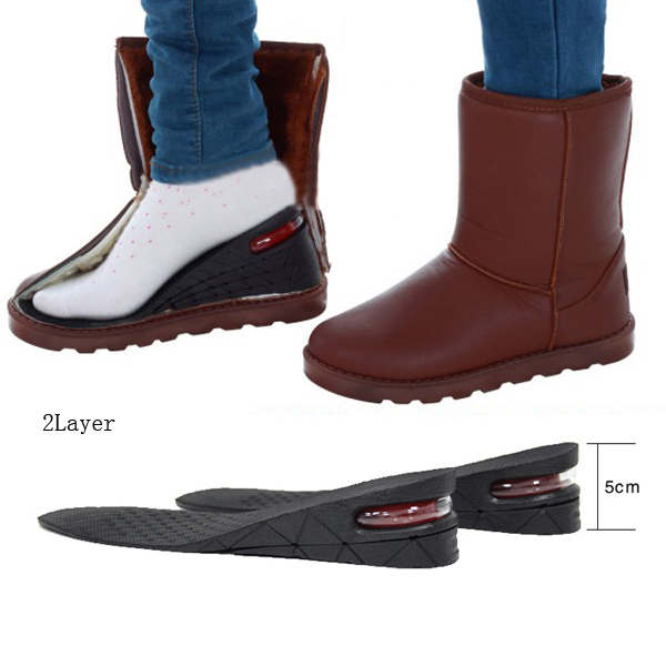 Hot 2 Layers 5cm Orthotics Arch Decompression Shoes Pads Boots Shoe Inserts Soft PVC Taller Height Increase Shoes Cushions