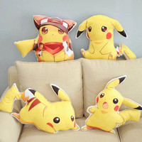 2016 Hot Sale One Piece Lovely Pikachu Plush Anime Toy Soft Sleeping Pillows Kids Birthday Present Lovely Friends Gifts 4 Style