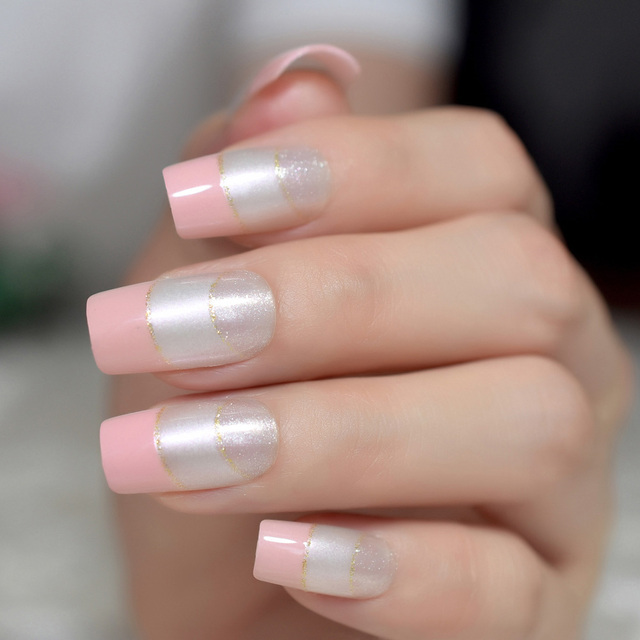 24pcs Light Pink French Nails Tips Silver Glitter Pre Designed Nail Long Square Full Cover