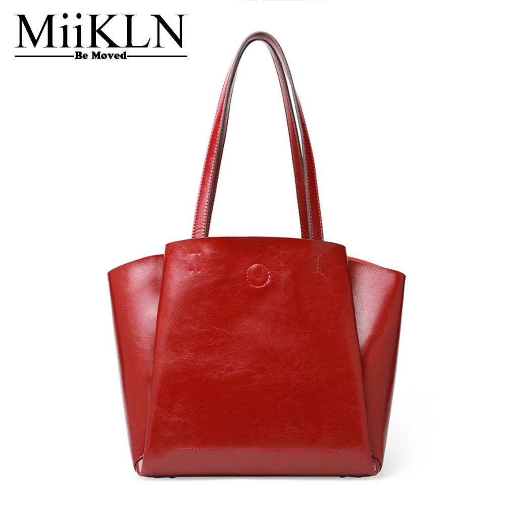 MiiKLN Cow Split Leather Soft Women Handbag Large Shoulder Bags Solid Fashion Zipper Ladies Bags For Female Shopping Casual Tote цена