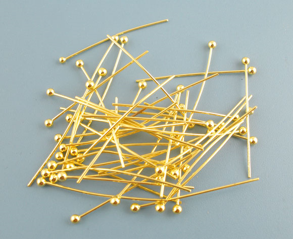 DoreenBeads 500PCs Gold Color Ball Head Pins 0.5x25mm(24 Gauge) (B03399)