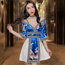New sexy Japanese kimono dress sleeve low-cut splicing foot bath sauna massage technician tooling uniforms