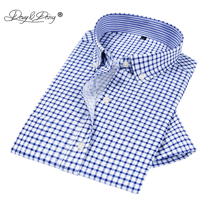 DAVYDAISY 2020New Arrival Summer Men Shirt Oxford Shirts Short Sleeved Fashion Causal Plaid Twill Shirt Men Brand Clothes DS318