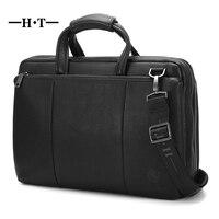 HT Simple Famous Brand Business Men Briefcase Bag Genuine Cowhide Leather Laptop Handbag Casual Man Bag