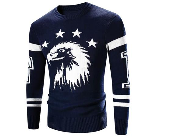men sweater western style thick sweater Eagle embroidery design men sweaters hot sale