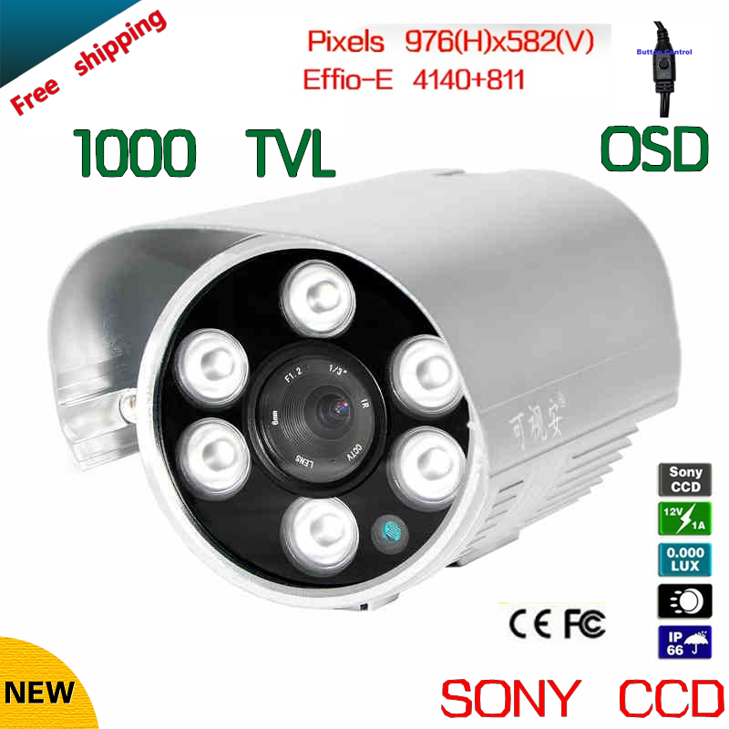 Free shipping security camera Sony Effio-e CCD 1000tvl 960H OSD menu IR 50 meters outdoor surveillance CCTV Camera with bracket cctv camera 2 8mm lens cmos 1000tvl security camera with osd menu