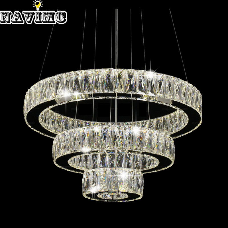 Modern LED K9 Crystal Chandelier Light Fixture for Ding Room Kitchen Restaurant Hanging Lamp Suspension  1 Ring 2 Ring 3Rings bao ding 38