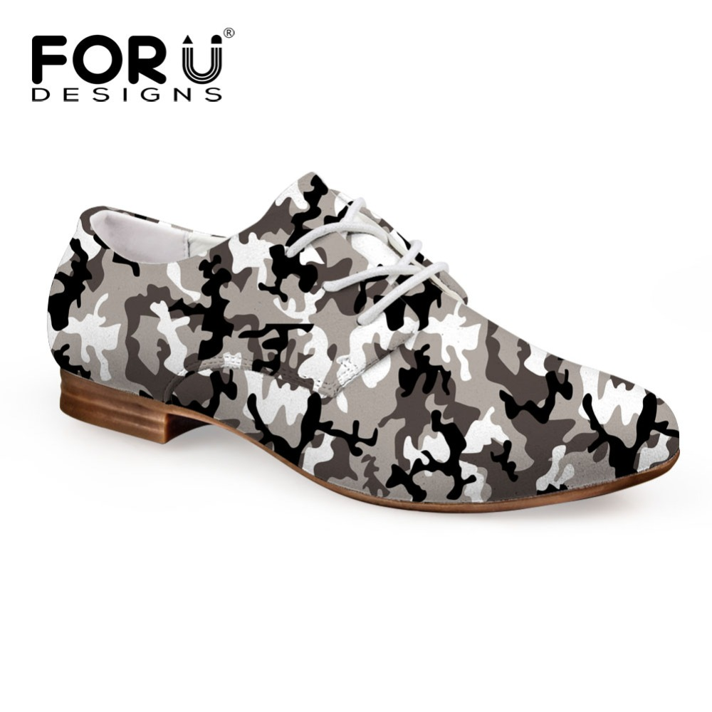 ФОТО FORUDESIGNS Vintage PU Oxford Shoes for Women Camouflage Spring Autumn Flat Shoes Lace-up Female Casual Oxford Shoes Plus Size