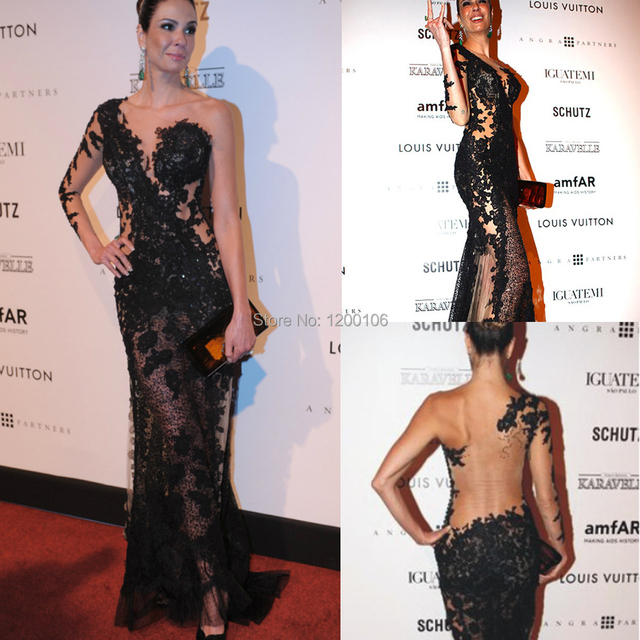 Hot Sales Oscar Red Carpet Illusion Lace Mermaid Long Evening Gown One Shoulder Black See Through Sexy Celebrity Dresses
