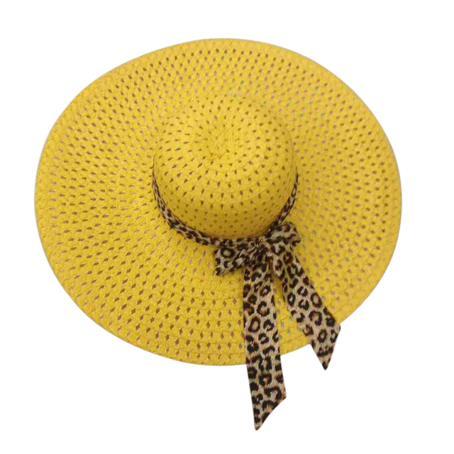 0f360db5164e0 Yellow Summer Exquisite Leopard Ribbon Bowknot Decorated Openwork Sun Hat  For Women