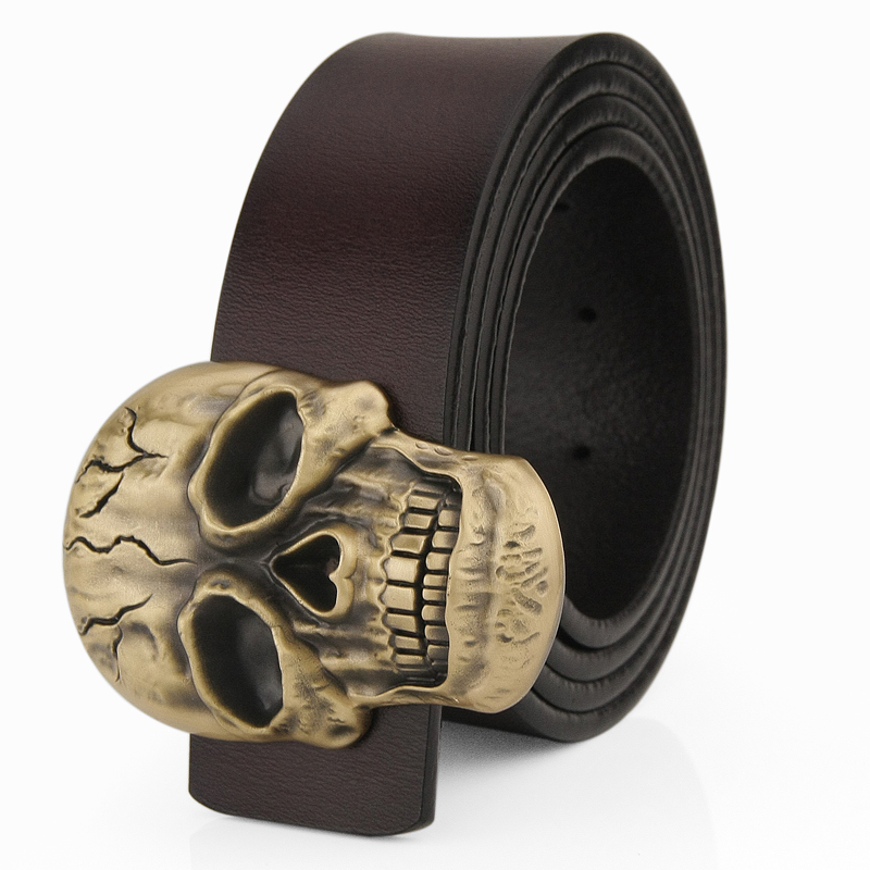 High Quality Skull Copper buckle luxury belts mens Pirate designer wide belts Casual Cowskin genuine leather cintos masculinos