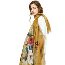 Luxury Brand Women Silk Scarf Beach Shawl Summer Wrap Designer Cotton Scarves Plus Size Female Stoles Bandana S