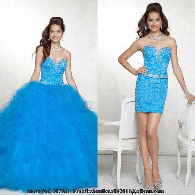 f8eb1862b Novia sin espalda vestido azul 15 años de faldas desmontables vestidos del  Quinceanera del vestido de