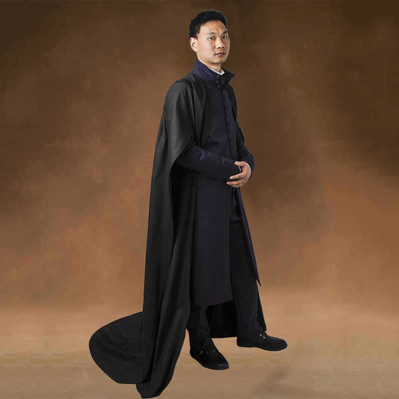Professor Severus Snape Cosplay Costume Outfit Halloween Cloak Black Robe Cosplay Adult Men Unisex Carnival Party Custom Made