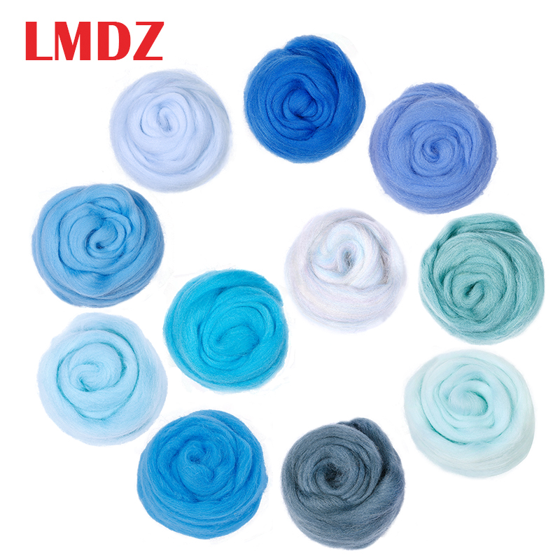 LMDZ 1pcs 50g Blue Needle Felting Wool Natural Collection Soft Wool Fiber For Animal Sewing Projects Doll Needlework Felting