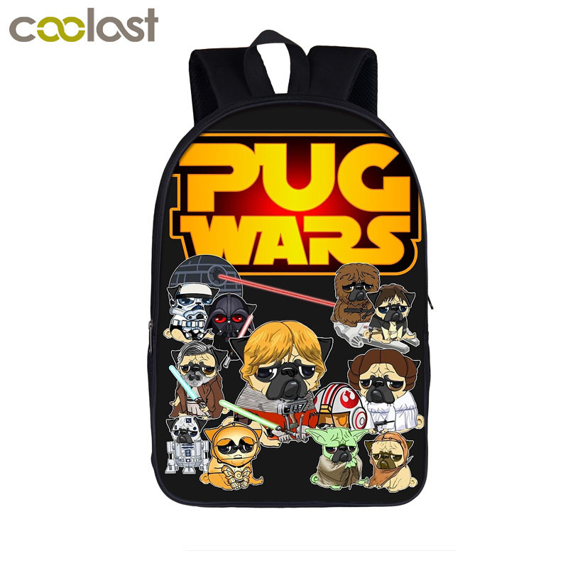 Funny Puppy Dog Cosplay Pug War / The Walking Pugs / Stranger Pug Backpack For Teenager Girls Boys Children School Bags Backpack