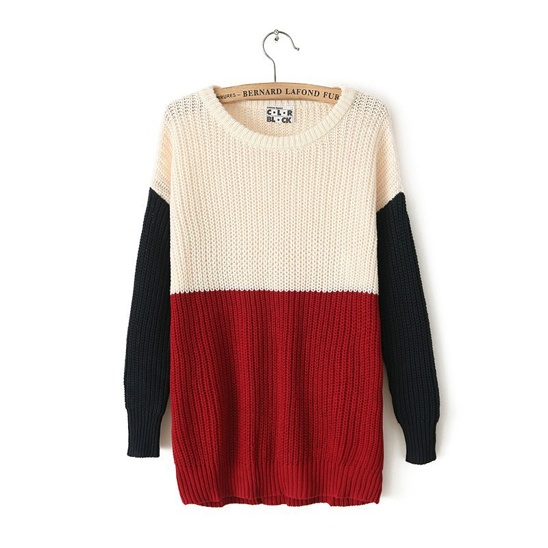 2017 zima Nové dámské svetrky s barevným blokem na krku Ženy plus svetr s dlouhým rukávem Dámský svetr