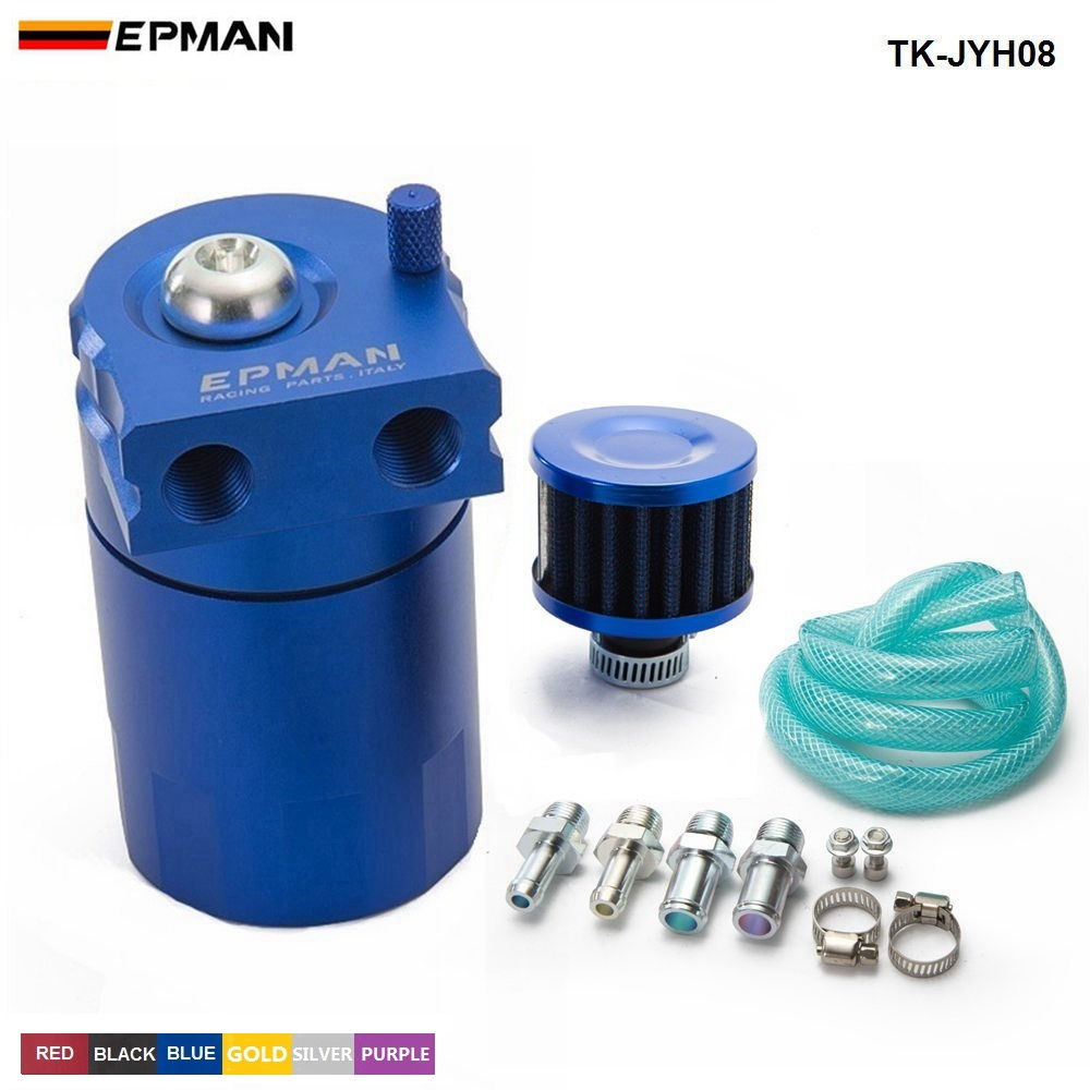 Epman esporte universal alumínio captura de óleo pode reservatório tanque 400ml + filtro respiro TK-JYH08