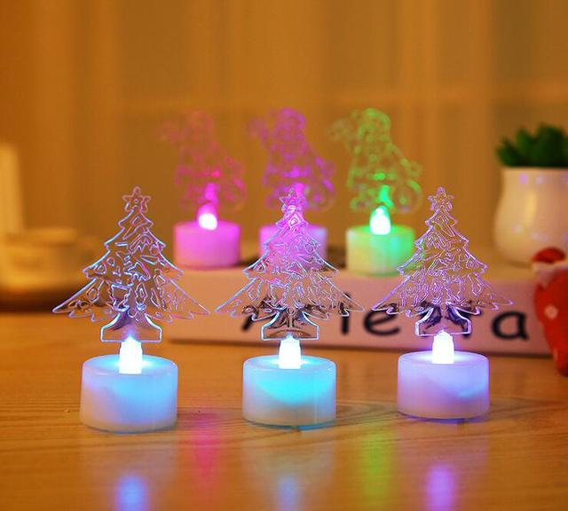 new acrylic colorful candle lights the christmas tree santa claus small night light led electronic luminous