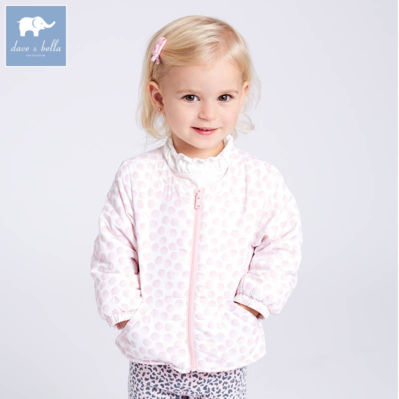 DB6961 dave bella spring infant baby girl fashion dots coats children cute high quality clothes