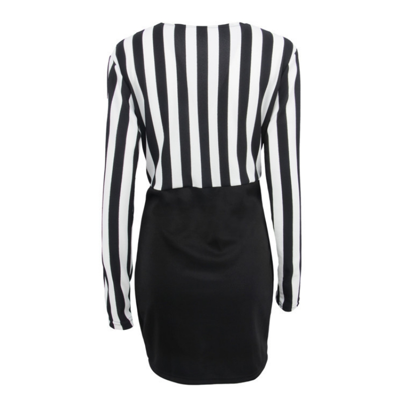Europe and the United States V-neck striped stitching long-sleeved slim bag hip dress solid black S women clothing 5