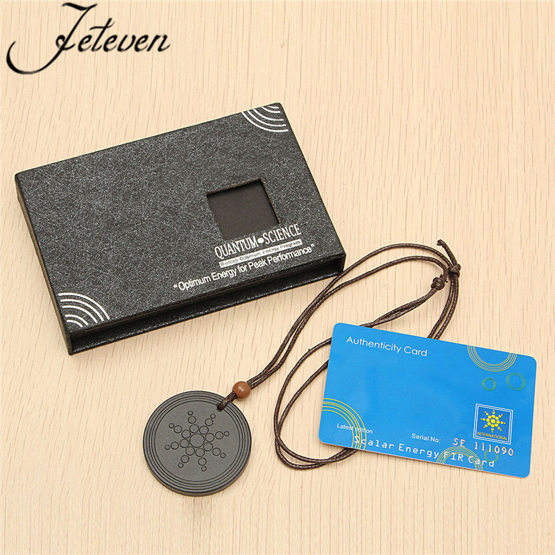 Lave Stone Quantum Pendant Necklace With Leather Rope Chain Scalar Energy  Neg Ions EMF Protection Health Care Charms Jewelry