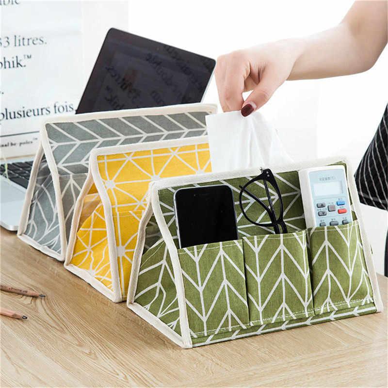 Kreatif Praktis Desktop Kotak Penyimpanan Kosmetik Baterai Lipat Organizer Makeup Penyimpanan Kotak Organizer Kayu Kanvas Tas