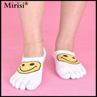 2017 Newest design small face women combed cotton socks boat casual cute solid color lady five fingers socks 6 pairs/lot