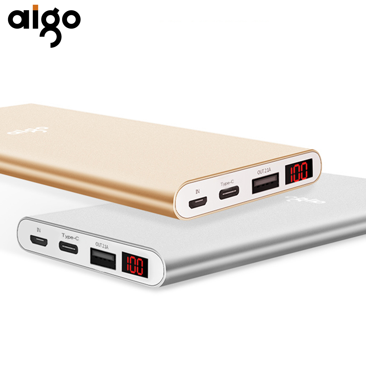 Aigo LCD Display 10000mAh Power Bank for Iphone Type C inport Mobile Backup Charger Power Supply For Smartphone External Battery