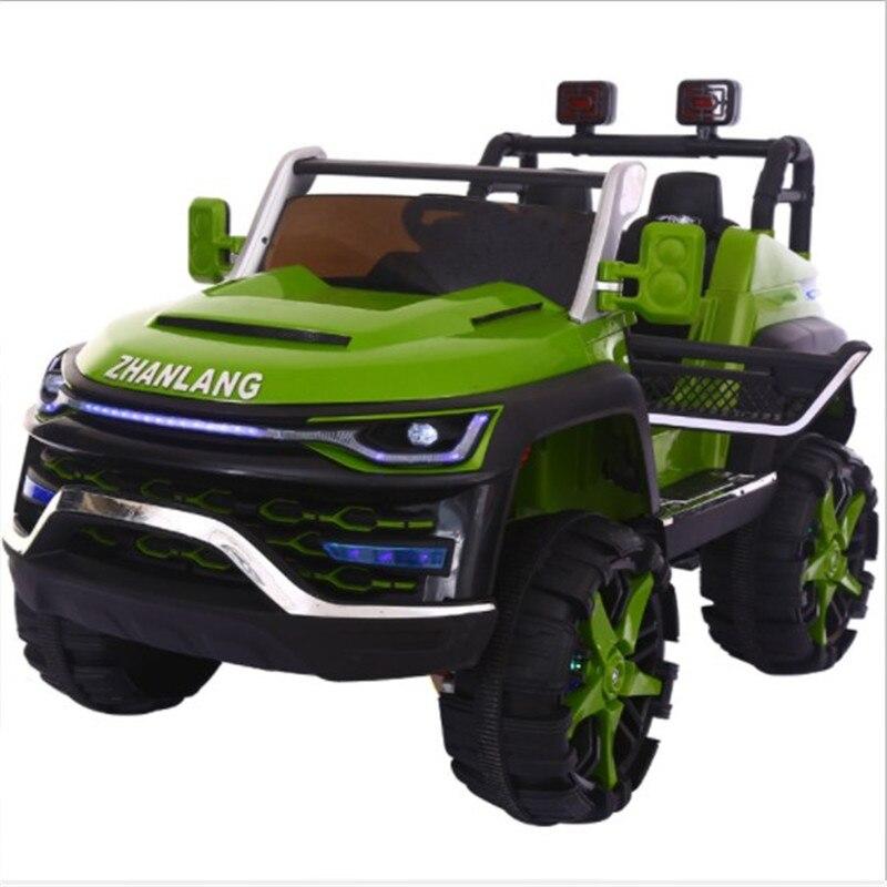 Voiture bébé deux places enfants électrique unisexe quatre roues voiture tout-terrain télécommande jouet voiture peut asseoir les gens balancent Cool voiture