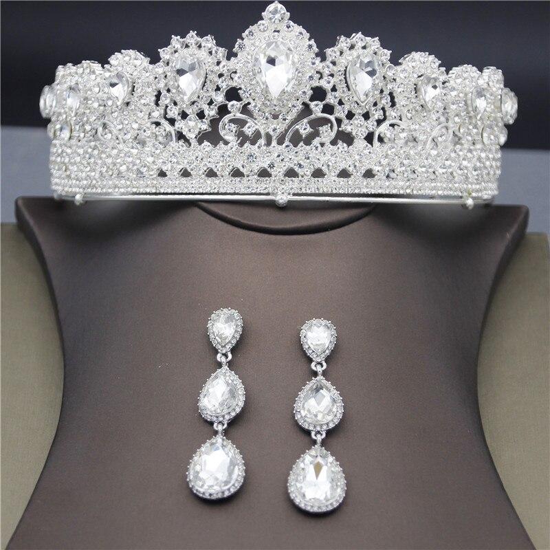 Couronne de cristal de reine pour les femmes or/argent bandeau de mariée diadèmes et couronnes boucles d'oreilles ensembles de mariage bijoux de cheveux ornement