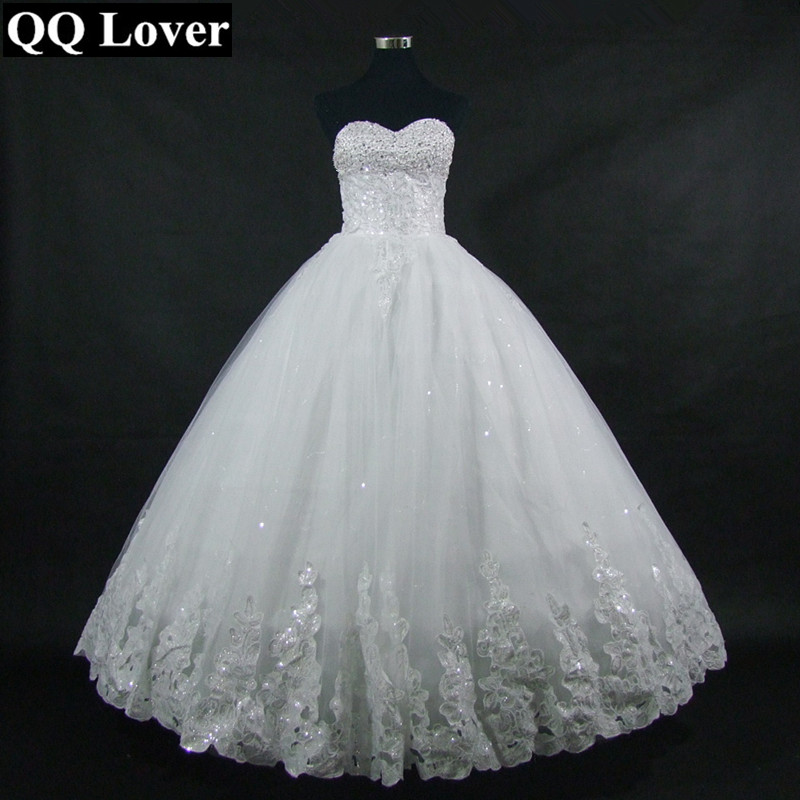 QQ Lover 2018 Rhinestone Princess Tube Top Bandage Wedding Dress Wedding Gown Plus Size