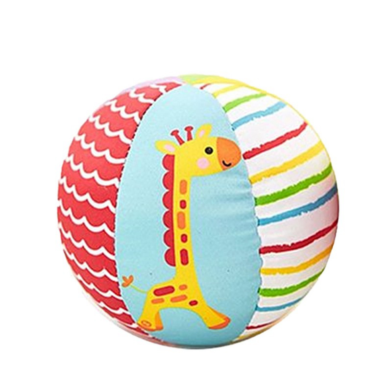 1Pc Kids Toys Cartoon Animal Cloth Ball Ring Bell Rattles Plush Crawl Toy Baby Early Educational Toys