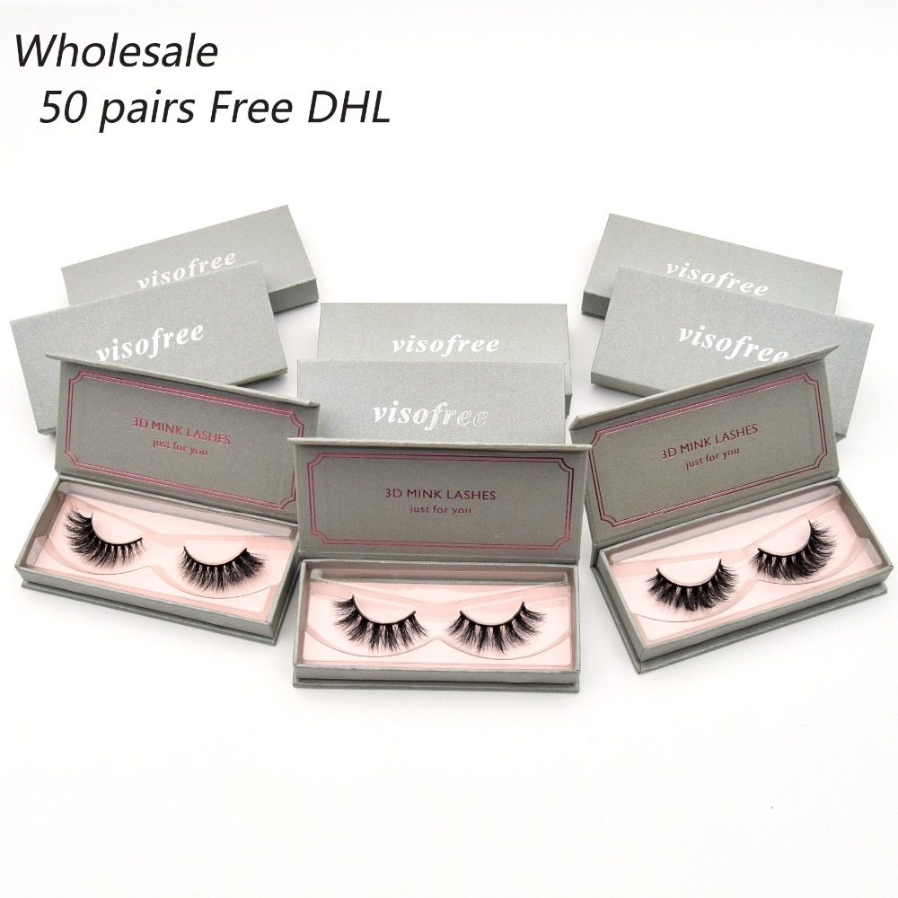 50 pairs free DHL Visofree Eyelashes 3D Mink Lashes Wholesale Handmade Lashes Thick Long False Eyelashes Makeup 40 styles lashes 21pcs set stylish density lengthening soft handmade fabulously false eyelashes drop shipping wholesale