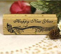 Wood Rubber Personalized Custom Stamps Happy New Year Butterfly Invitation Card Seal Logo Couples Name DIY