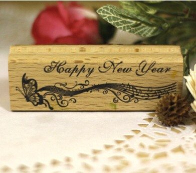 Wood rubber Personalized Custom Stamps Happy New Year Butterfly Invitation Card Seal logo Couples Name DIY Cards Wedding stamp te0192 garner 2005 international year of physics einstein 5 new stamps 0405
