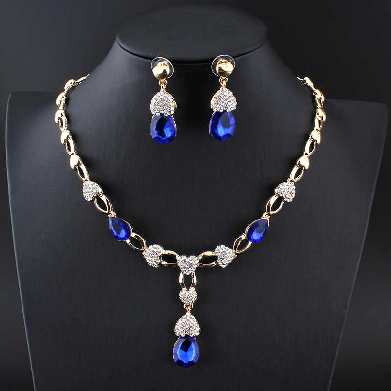 jiayijiaduo Nigeria beautiful women wedding jewelry set Gold-color necklace earrings Crystal Necklace Gift Accessories