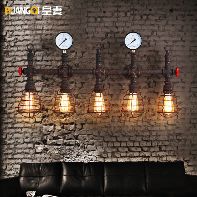 Creative  iron Pipe Wall Light  American Retro Industrial Loft Wrought Iron restaurant Bar Wall Lamp deco art