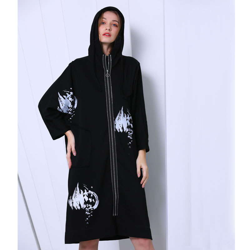 Vêtement black Printemps Mode Coupe Green Lâche Dames coat Taille 2019 Femme Trench Pour Femmes Capuchon Nouveau vent Impression khaki De Superaen À RqT5pwx