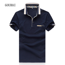 2017 Fashion Men Solid Polo Shirt Short Sleeve Casual Shirt Breathable Cotton Men Polo Shirts Breathable Plus Size M-4XL 5XL