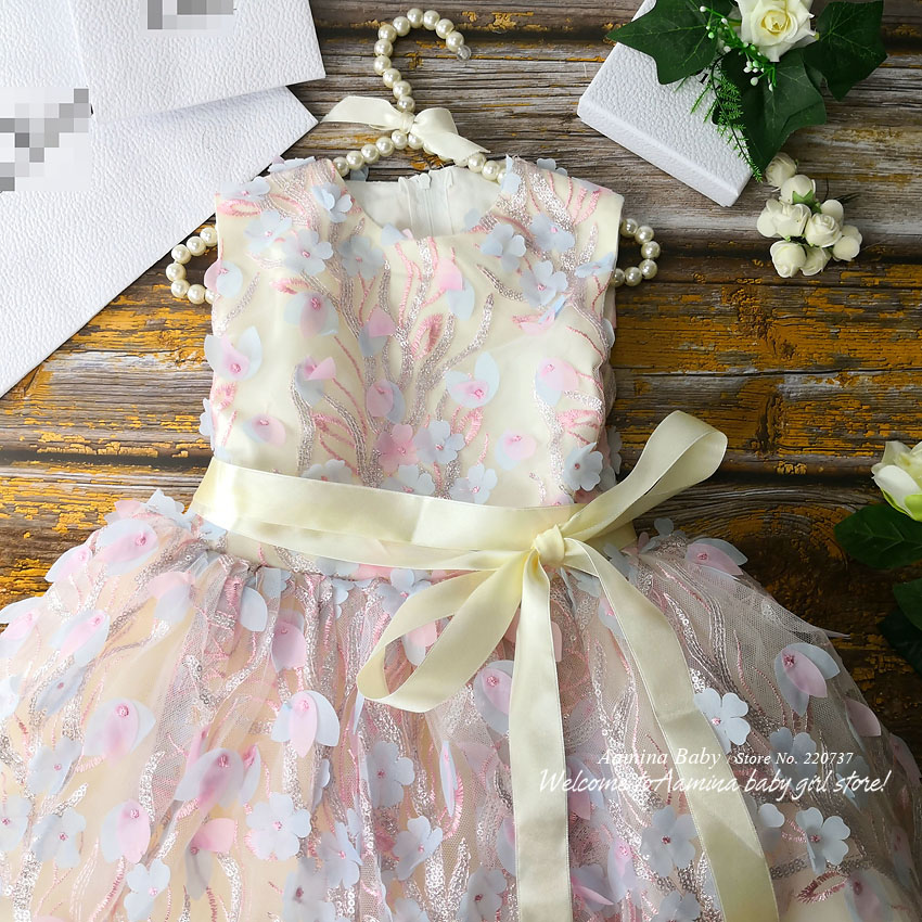 R138 Retail New Flowers Embroidery Costume Tutu Princess Baby Girl