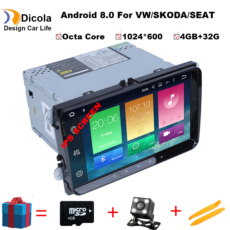 Octa Core 4G+32G HD IPS 2 din android 8.0 car dvd for vw passat b5 b6 golf 4 5 tiguan polo skoda octavia rapid car radio player-in Car CD Player from Automobiles & Motorcycles