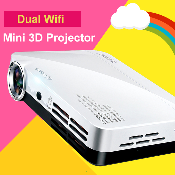 1080 p 3D Mini Proyector Multimedia Led Proyector Android 4.4 Wifi Bluetooth par