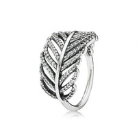 Starland Fine Detail Authentic Sterling Silver 925 Ring Hollow leaves White CZ Rings For Women Wedding Jewelry Size 5 9