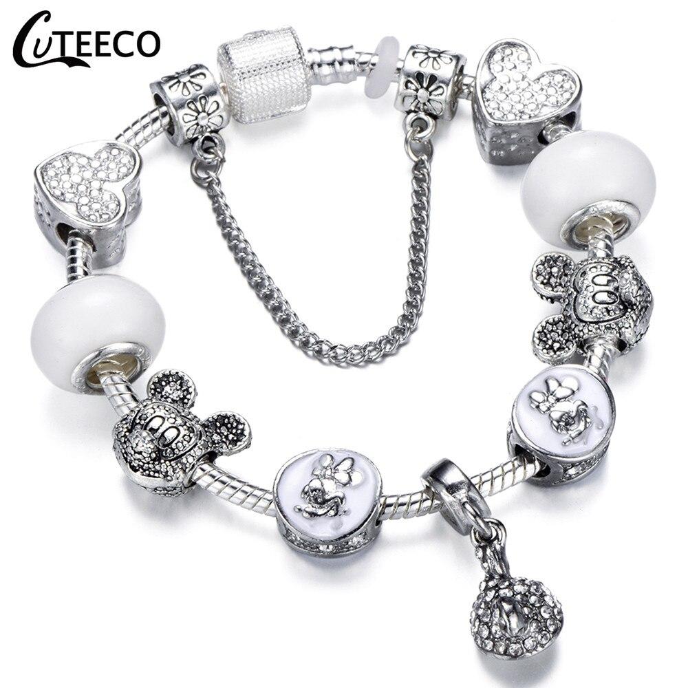 CUTEECO 925, модный серебряный браслет с шармами, браслет для женщин, Хрустальный цветок, сказочный шарик, подходит для брендовых браслетов, ювелирные изделия, браслеты - Окраска металла: AD0721