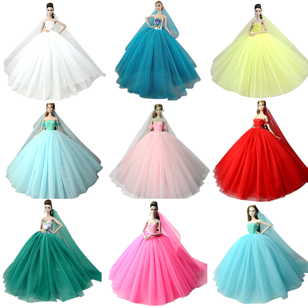 NK Doll Dress High quality Handmade Long Tail Evening Gown Clothes Lace Wedding Dress +Veil For Barbie Doll Best Gift JJ image