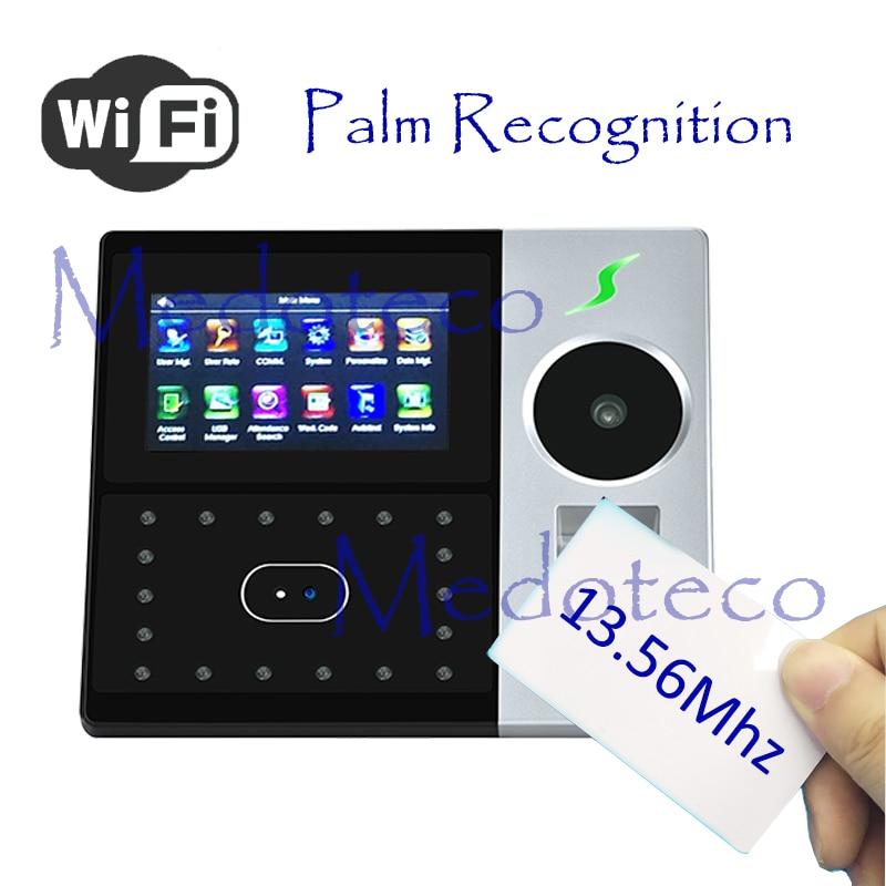 Wifi Hybird Biometric Palm Time Attendance 13.56Mhz IC Card Employee Electronic Attendance Face & Fingerprint Time Recorder